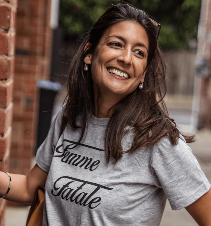 "Grey woman T-shirt ""Femme fatale"""
