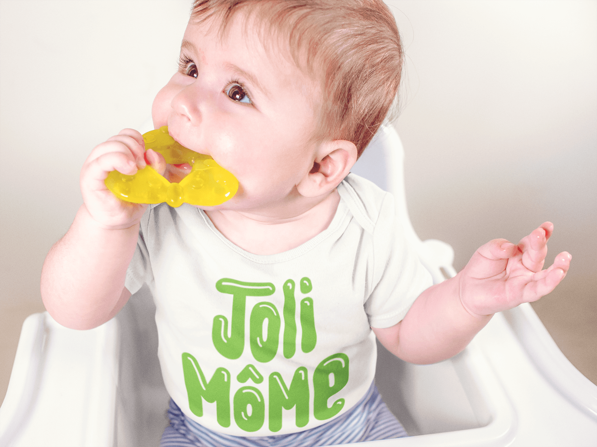 Baby onesie Joli mome translates to handsome boy
