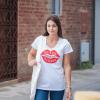 """Woman white V-neck T-shirt """"Bisous Poutou Kissou"""" translates to kiss, kiss, kiss"""